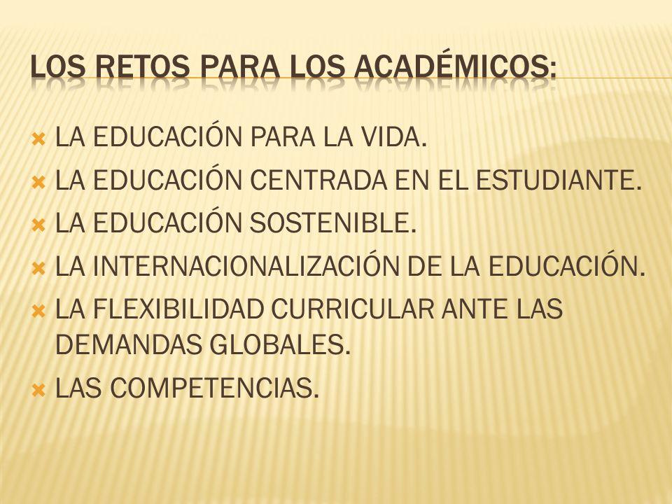 LA EDUCACIÓN PARA LA VIDA. LA EDUCACIÓN CENTRADA EN EL ESTUDIANTE.