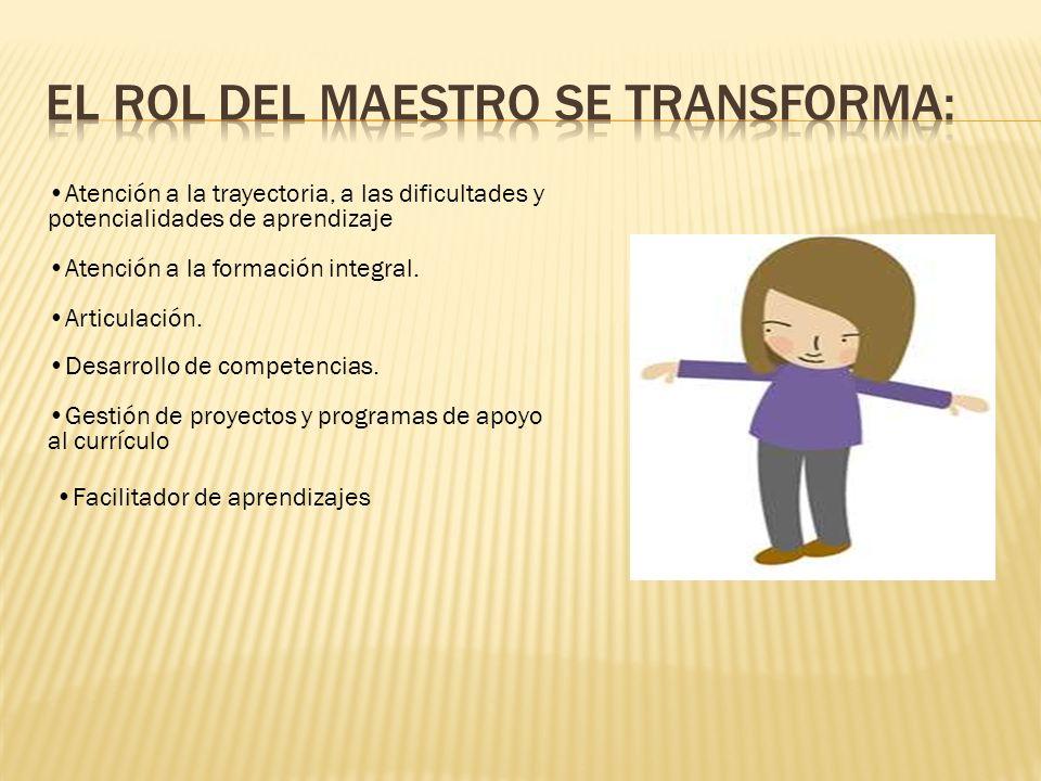 Atención a la trayectoria, a las dificultades y potencialidades de aprendizaje Atención a la formación integral.