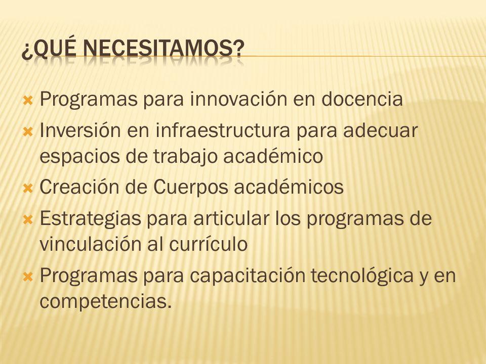 Programas para innovación en docencia Inversión en infraestructura para adecuar espacios de trabajo académico Creación de Cuerpos académicos Estrategias para articular los programas de vinculación al currículo Programas para capacitación tecnológica y en competencias.