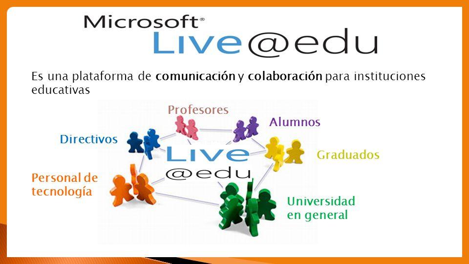 Correo electrónico académico Calendario académico Messenger (chat) Disco rígido virtual, SkyDrive Office Web Apps Integración con su portal educativo