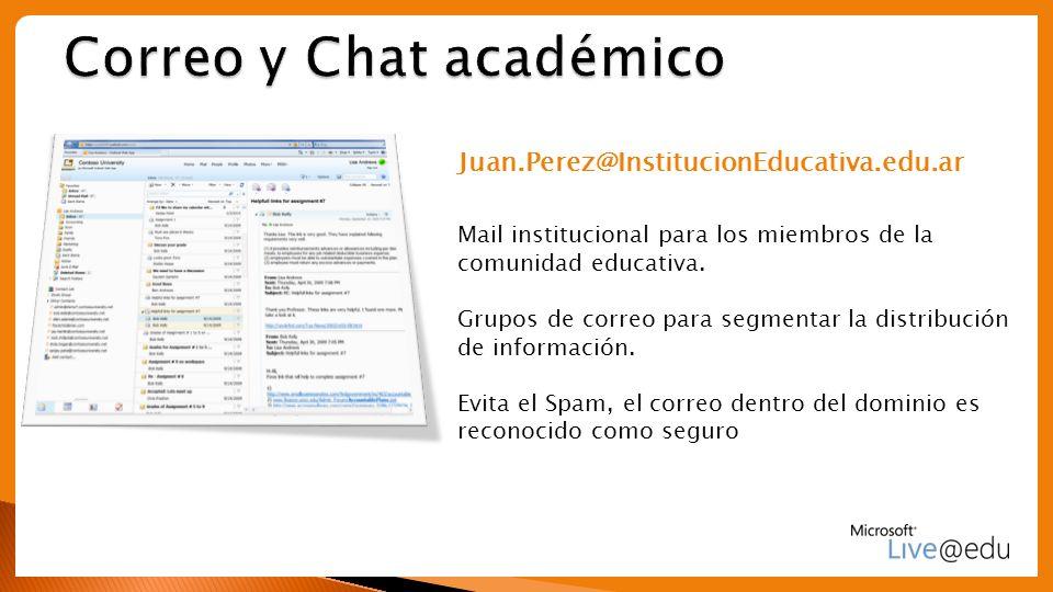 Juan.Perez@InstitucionEducativa.edu.ar Mail institucional para los miembros de la comunidad educativa. Grupos de correo para segmentar la distribución