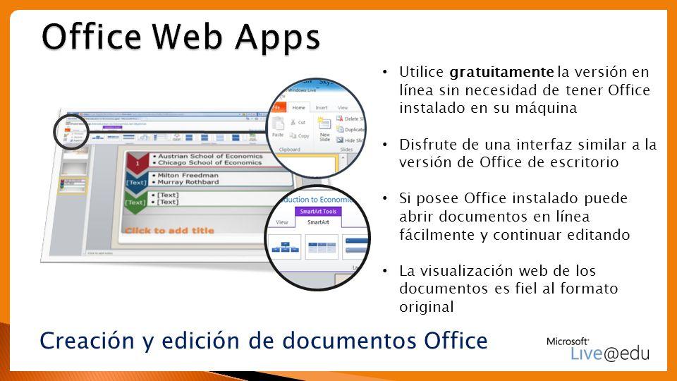Creación y edición de documentos Office Utilice gratuitamente la versión en línea sin necesidad de tener Office instalado en su máquina Disfrute de un