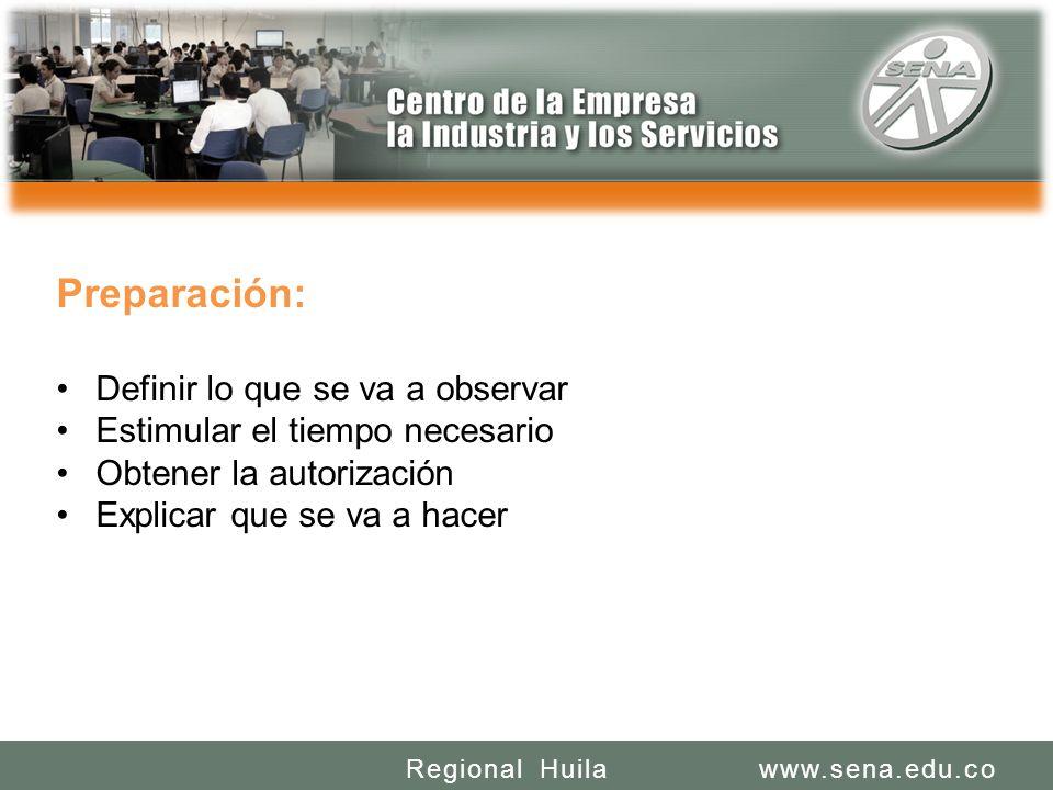 SENA REGIONAL HUILA REGIONAL HUILA CENTRO DE LA INDUSTRIA LA EMPRESA Y LOS SERVICIOS www.sena.edu.coRegional Huila Preparación: Definir lo que se va a