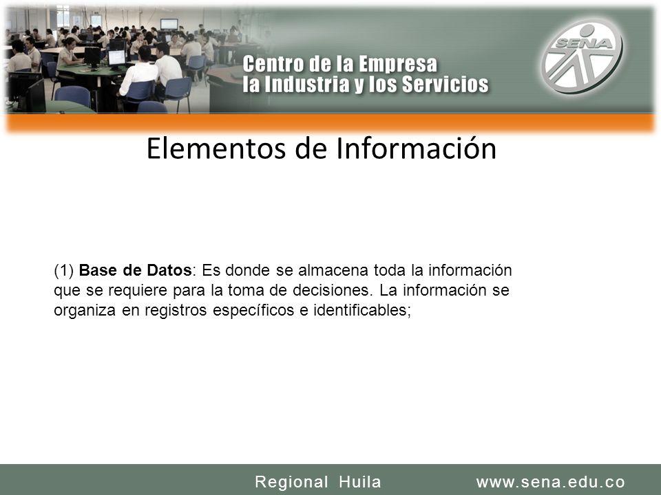 SENA REGIONAL HUILA REGIONAL HUILA CENTRO DE LA INDUSTRIA LA EMPRESA Y LOS SERVICIOS www.sena.edu.coRegional Huila Elementos de Información (1) Base de Datos: Es donde se almacena toda la información que se requiere para la toma de decisiones.