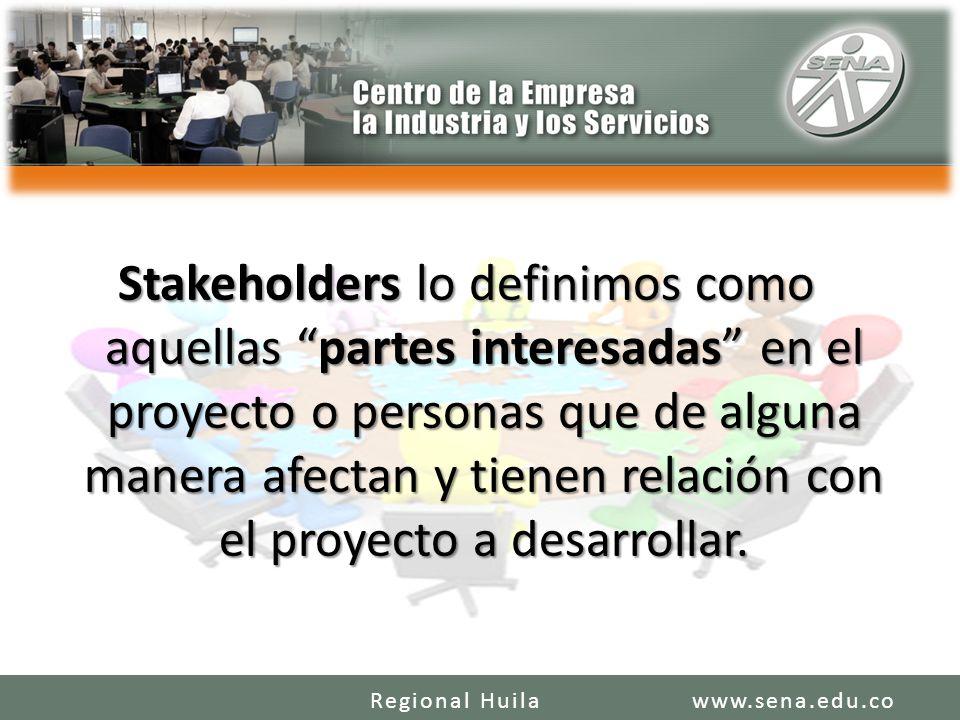 Stakeholders lo definimos como aquellas partes interesadas en el proyecto o personas que de alguna manera afectan y tienen relación con el proyecto a
