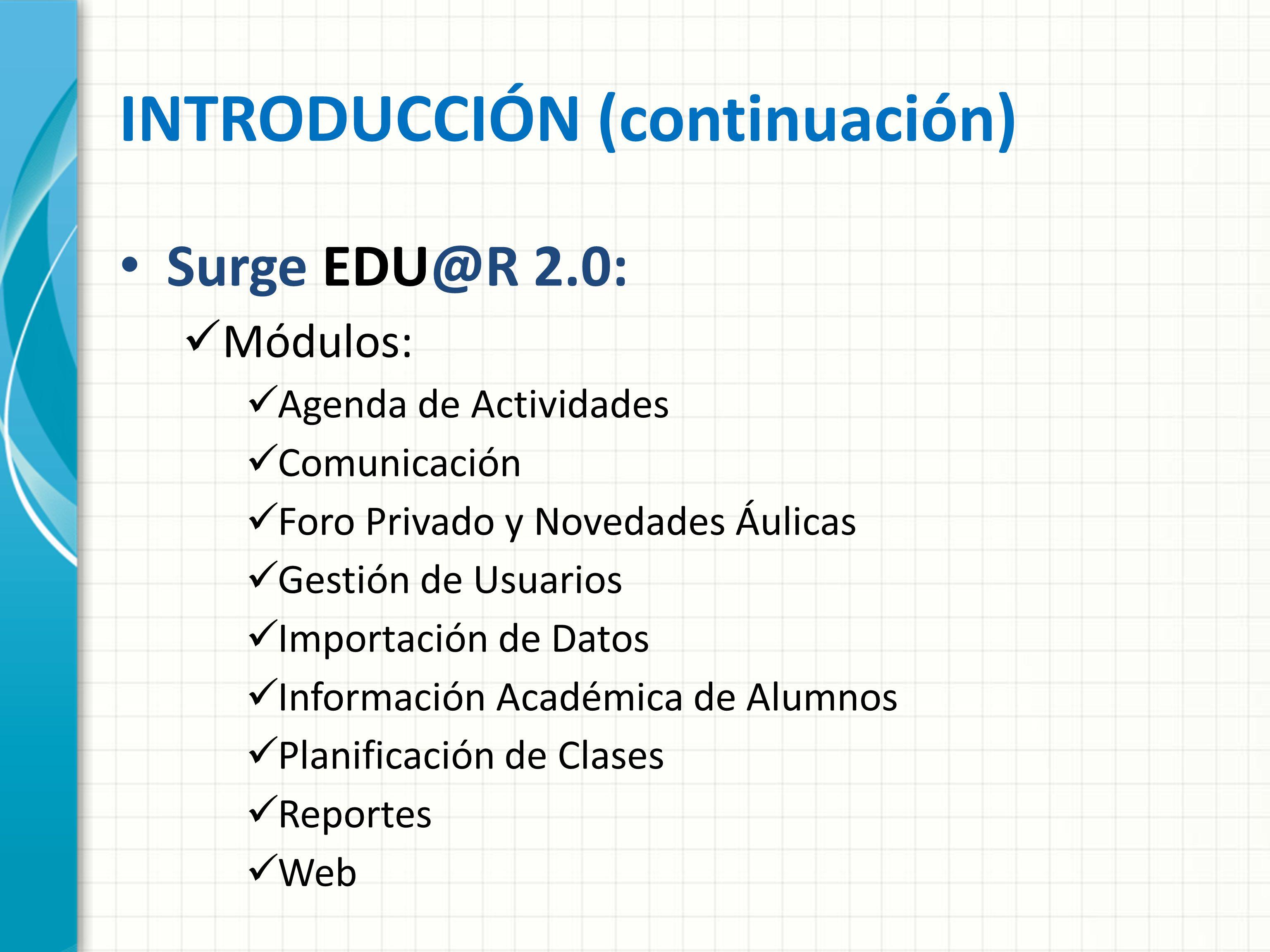 INTRODUCCIÓN (continuación) Surge EDU@R 2.0: Módulos: Agenda de Actividades Comunicación Foro Privado y Novedades Áulicas Gestión de Usuarios Importac