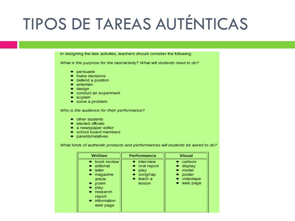 TIPOS DE TAREAS AUTÉNTICAS