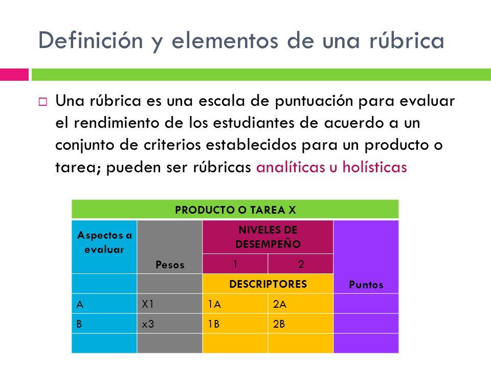 Definición y elementos de una rúbrica Una rúbrica es una escala de puntuación para evaluar el rendimiento de los estudiantes de acuerdo a un conjunto