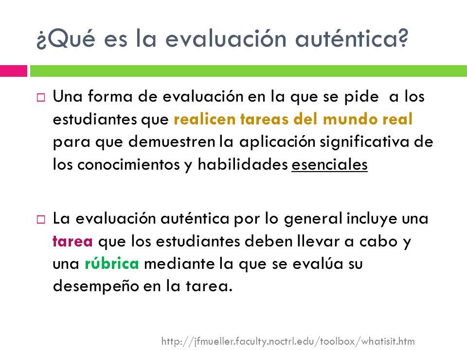 ¿Qué es la evaluación auténtica? Una forma de evaluación en la que se pide a los estudiantes que realicen tareas del mundo real para que demuestren la