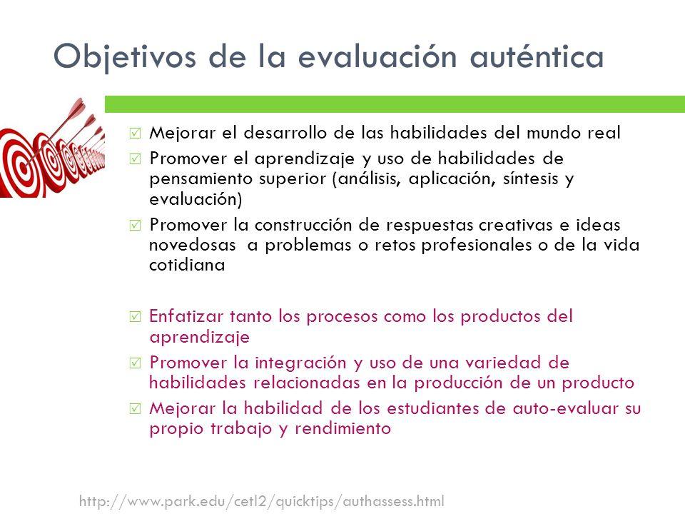 Objetivos de la evaluación auténtica http://www.park.edu/cetl2/quicktips/authassess.html Mejorar el desarrollo de las habilidades del mundo real Promo
