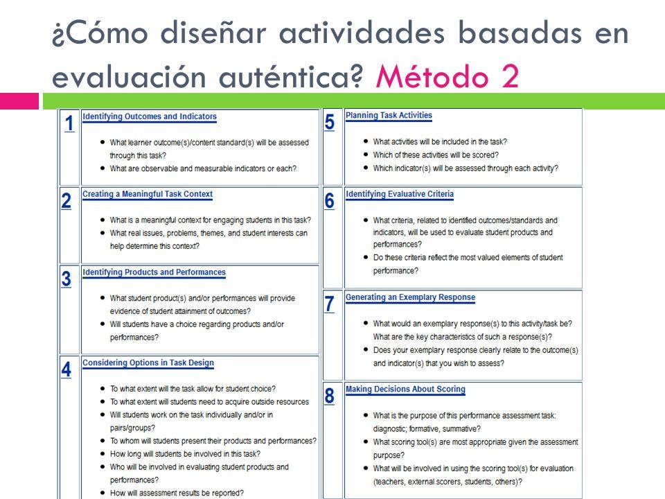 ¿Cómo diseñar actividades basadas en evaluación auténtica? Método 2