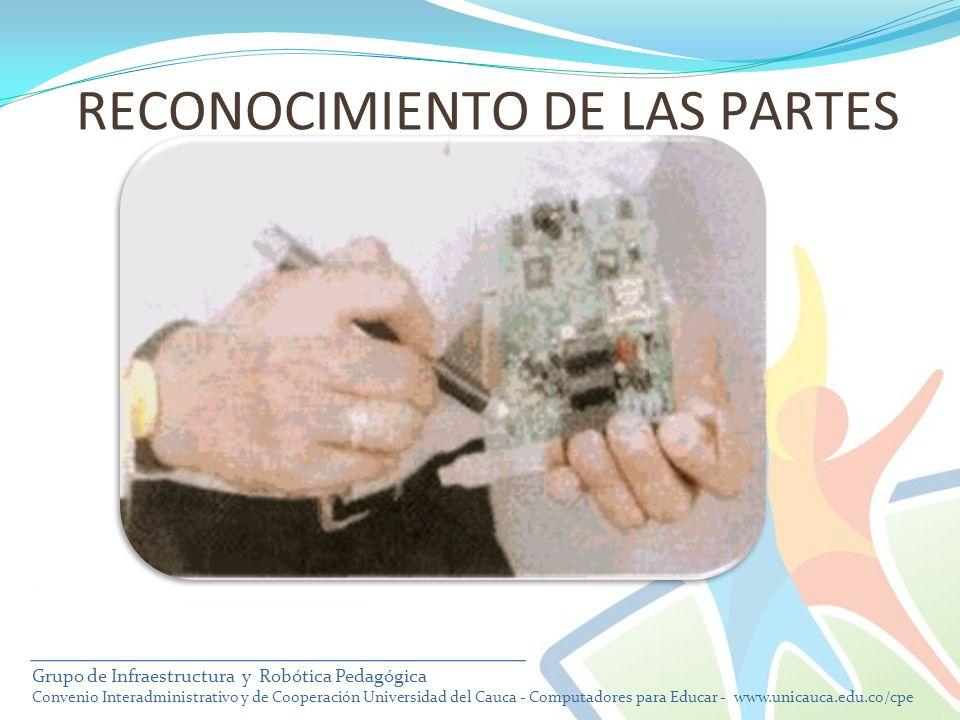RECONOCIMIENTO DE LAS PARTES Grupo de Infraestructura y Robótica Pedagógica Convenio Interadministrativo y de Cooperación Universidad del Cauca - Comp