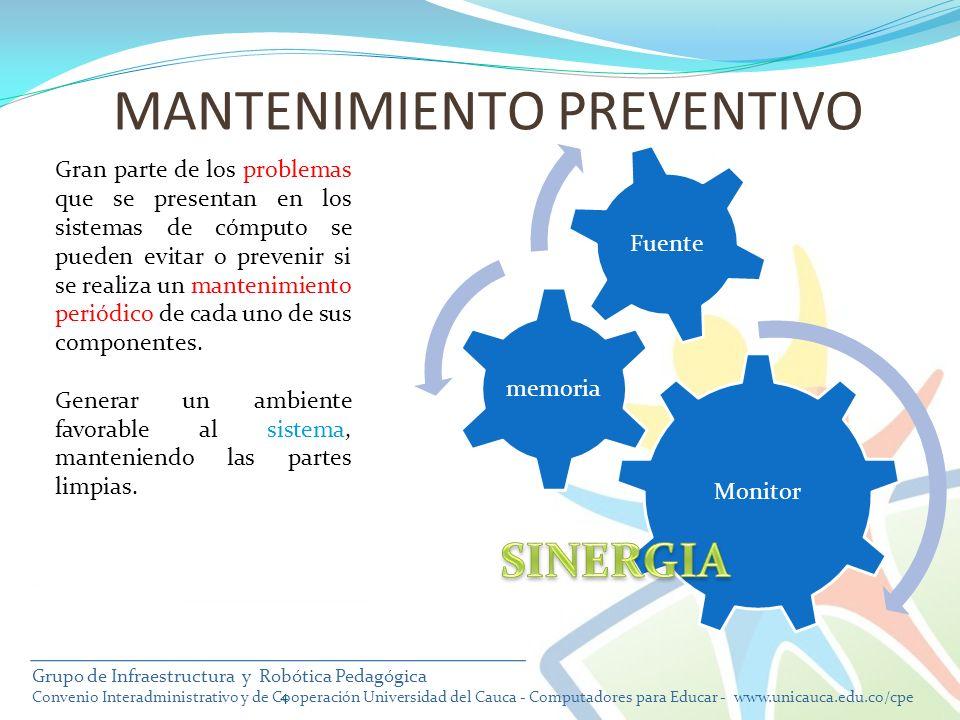 Monitor memoria Fuente 4 Gran parte de los problemas que se presentan en los sistemas de cómputo se pueden evitar o prevenir si se realiza un mantenim