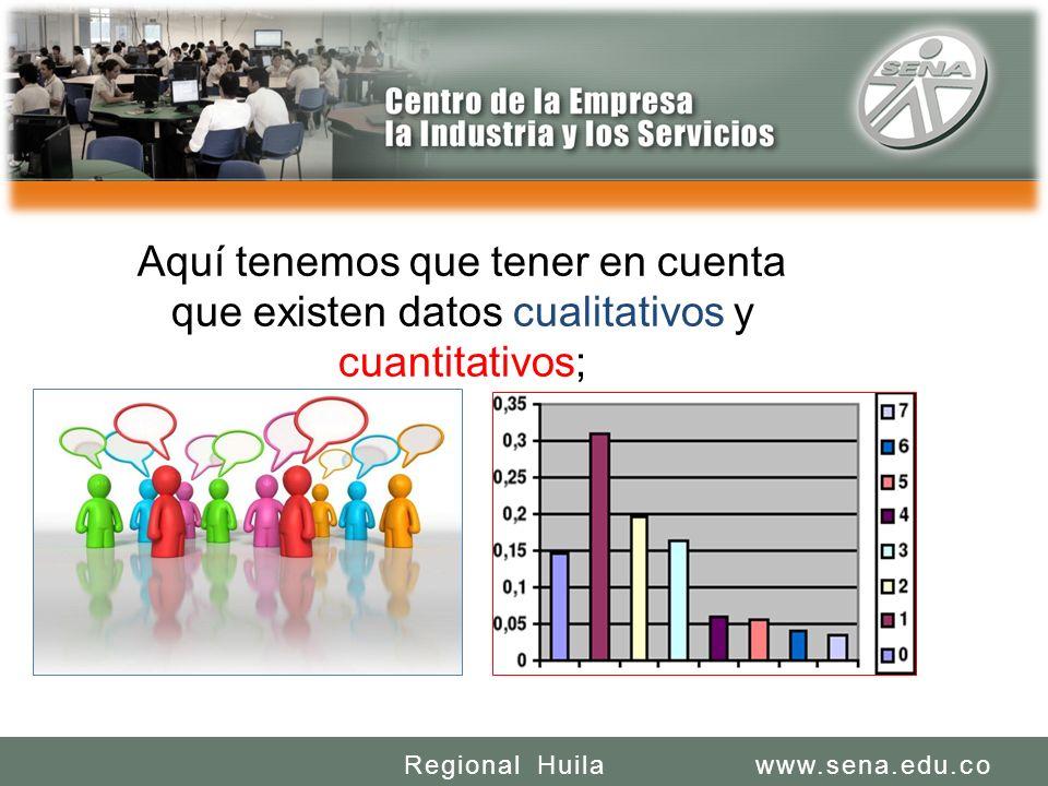 SENA REGIONAL HUILA CENTRO DE LA INDUSTRIA LA EMPRESA Y LOS SERVICIOS www.sena.edu.coRegional Huila Aquí tenemos que tener en cuenta que existen datos cualitativos y cuantitativos;