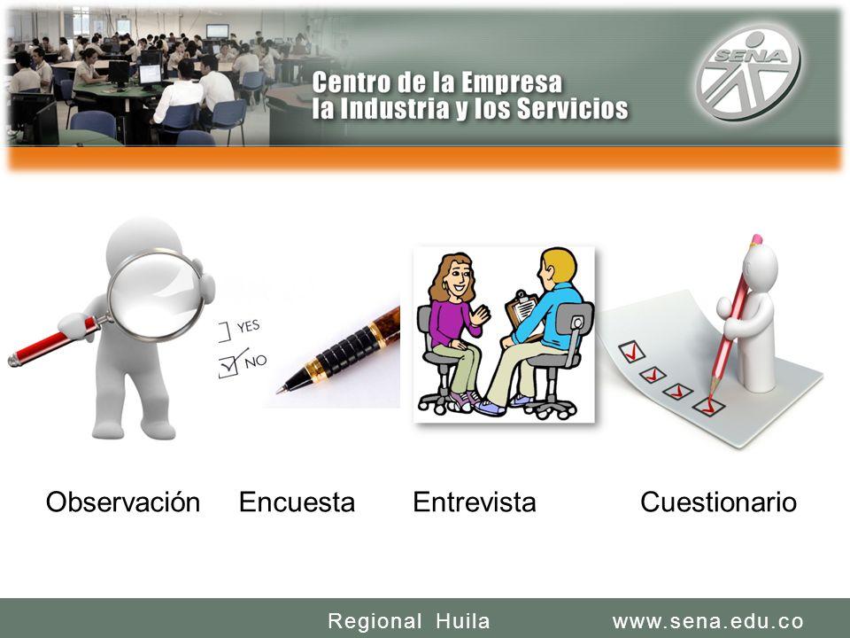 SENA REGIONAL HUILA CENTRO DE LA INDUSTRIA LA EMPRESA Y LOS SERVICIOS www.sena.edu.coRegional Huila ObservaciónEncuestaEntrevistaCuestionario