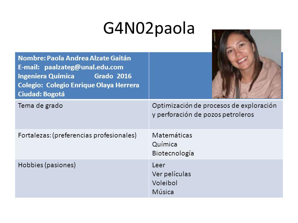 G4N02paola Nombre: Paola Andrea Alzate Gaitán E-mail: paalzateg@unal.edu.com Ingeniera Química Grado 2016 Colegio: Colegio Enrique Olaya Herrera Ciuda
