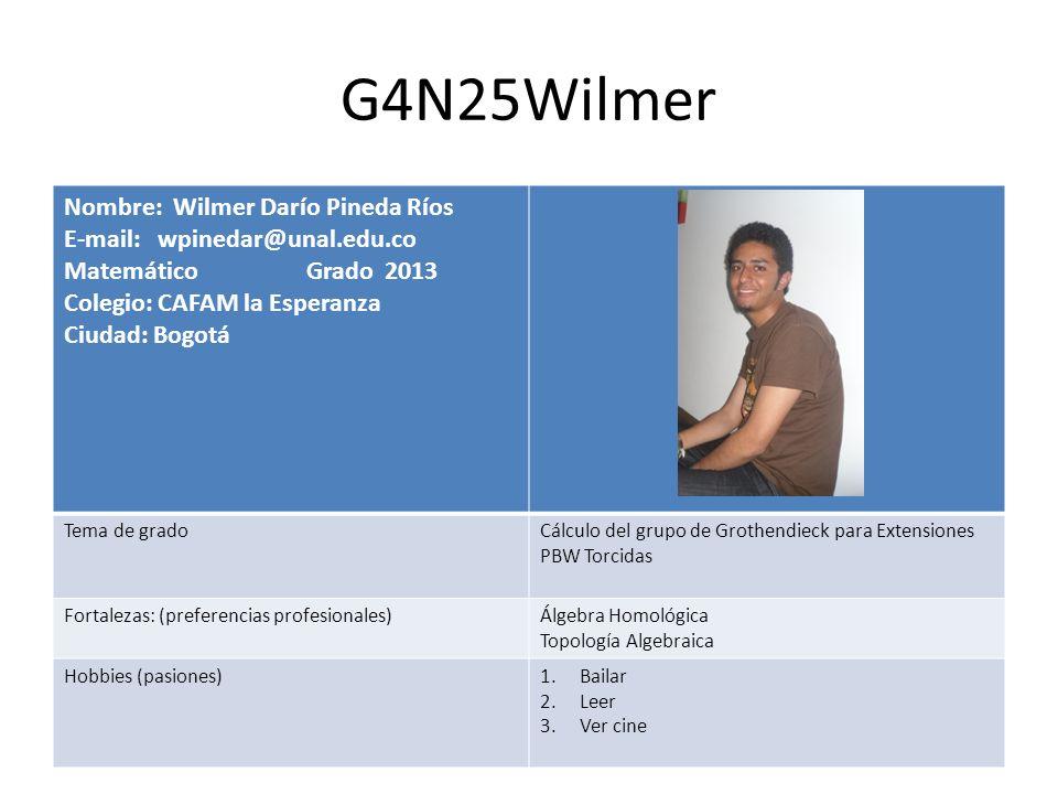 G4N25Wilmer Nombre: Wilmer Darío Pineda Ríos E-mail: wpinedar@unal.edu.co Matemático Grado 2013 Colegio: CAFAM la Esperanza Ciudad: Bogotá Tema de gra