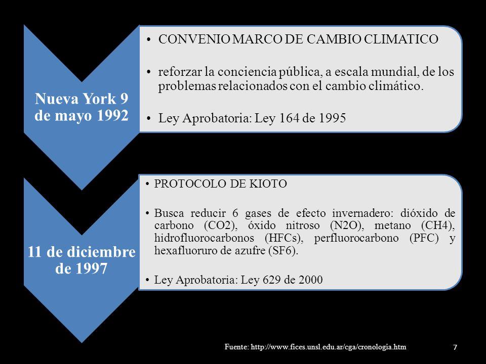 Brasilia, Brasil 3 de julio de 1978 TRATADO DE COOPERACIÓN AMAZÓNICA – TCA instrumento jurídico de naturaleza técnica con miras a promover el desarrollo armónico e integrado de la cuenca Ley Aprobatoria: Ley 74 de 1979 Monterrey México, 2002 OBJETIVOS DE DESARROLLO DEL MILENIO 189 países del mundo, objetivos que deben cumplirse para el año 2015 Objetivo 7: Garantizar la sostenibilidad del medio ambiente 8 Fuente: http://www.fices.unsl.edu.ar/cga/cronologia.htm