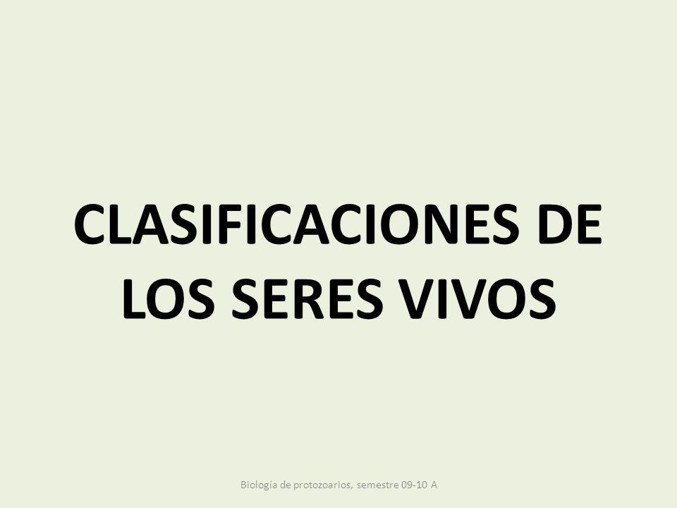 CLASIFICACIONES DE LOS SERES VIVOS Biología de protozoarios, semestre 09-10 A