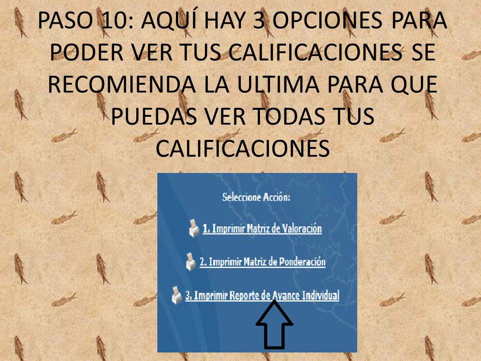 PASO 10: AQUÍ HAY 3 OPCIONES PARA PODER VER TUS CALIFICACIONES SE RECOMIENDA LA ULTIMA PARA QUE PUEDAS VER TODAS TUS CALIFICACIONES