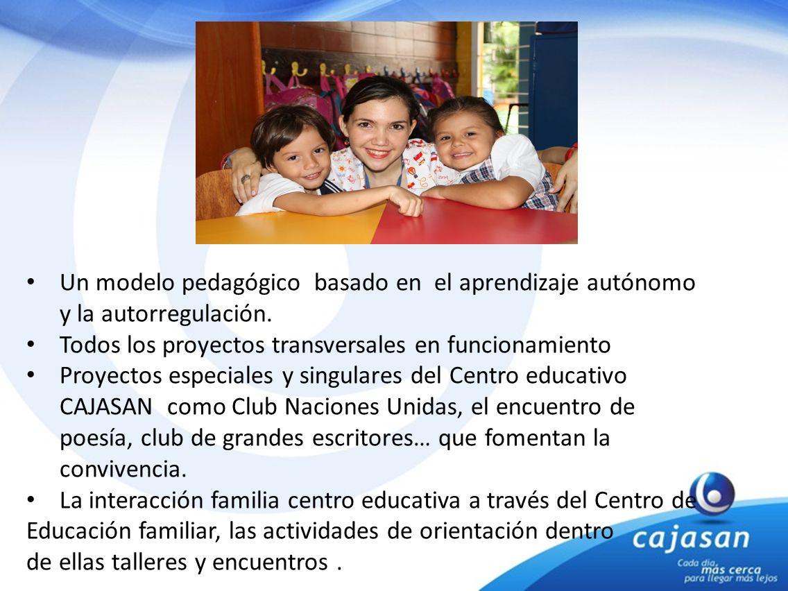 Un modelo pedagógico basado en el aprendizaje autónomo y la autorregulación. Todos los proyectos transversales en funcionamiento Proyectos especiales
