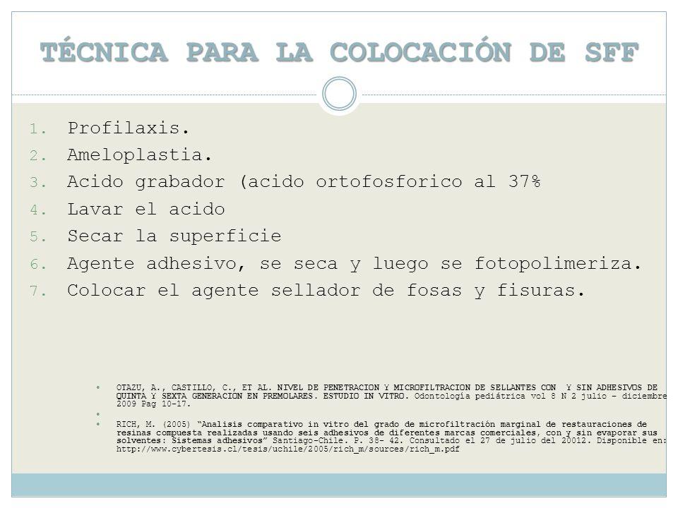 TÉCNICA PARA LA COLOCACIÓN DE SFF 1. Profilaxis. 2. Ameloplastia. 3. Acido grabador (acido ortofosforico al 37% 4. Lavar el acido 5. Secar la superfic