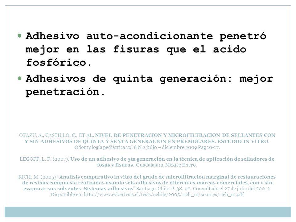 OTAZU, A., CASTILLO, C., ET AL. NIVEL DE PENETRACION Y MICROFILTRACION DE SELLANTES CON Y SIN ADHESIVOS DE QUINTA Y SEXTA GENERACION EN PREMOLARES. ES