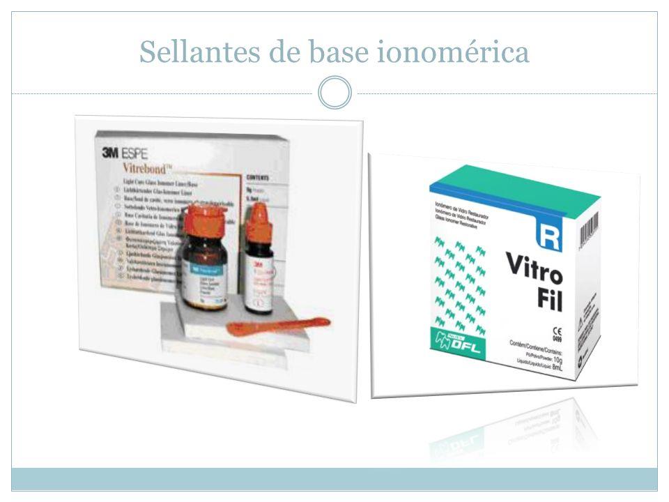 Comparación de ambos tipos de SFF Existen de resina convencional con y sin liberación de flúor, son fotocurados.