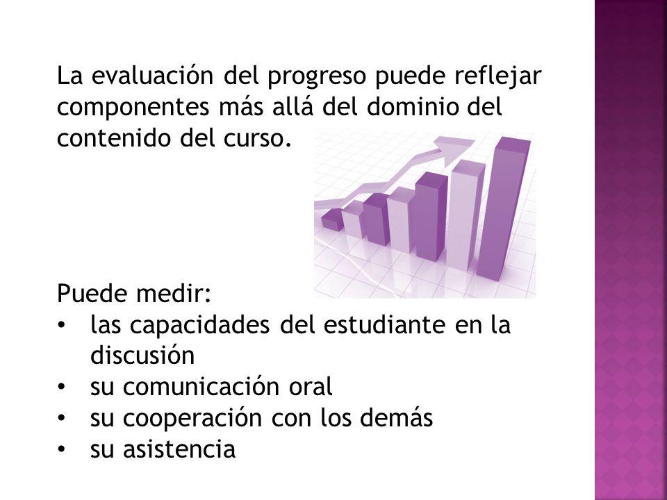 La evaluación del progreso puede reflejar componentes más allá del dominio del contenido del curso. Puede medir: las capacidades del estudiante en la