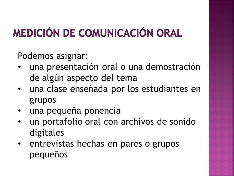 Podemos asignar: una presentación oral o una demostración de algún aspecto del tema una clase enseñada por los estudiantes en grupos una pequeña ponen