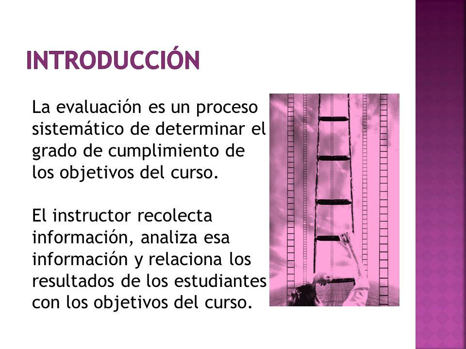 La evaluación es un proceso sistemático de determinar el grado de cumplimiento de los objetivos del curso. El instructor recolecta información, analiz