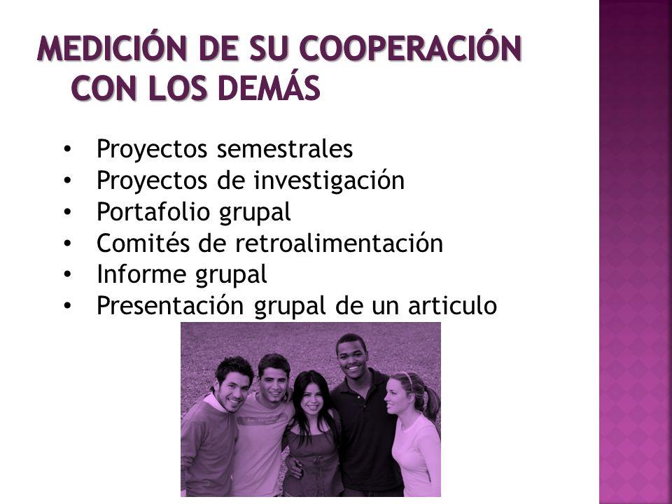 Proyectos semestrales Proyectos de investigación Portafolio grupal Comités de retroalimentación Informe grupal Presentación grupal de un articulo