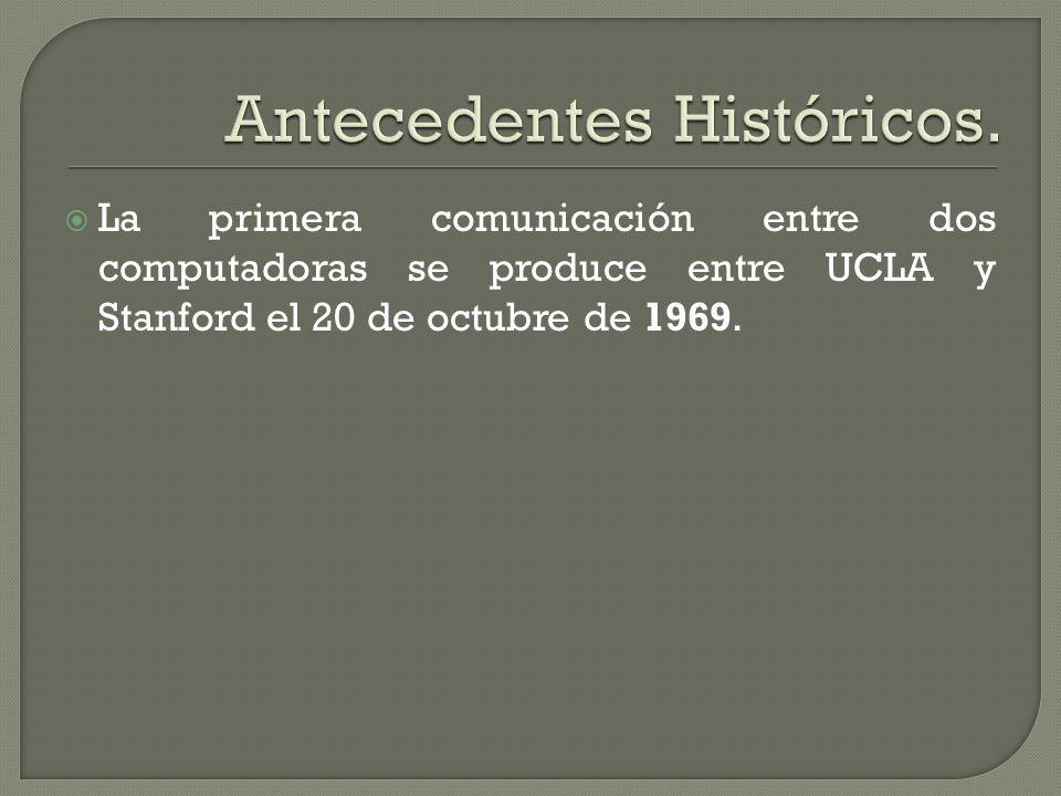 La primera comunicación entre dos computadoras se produce entre UCLA y Stanford el 20 de octubre de 1969.