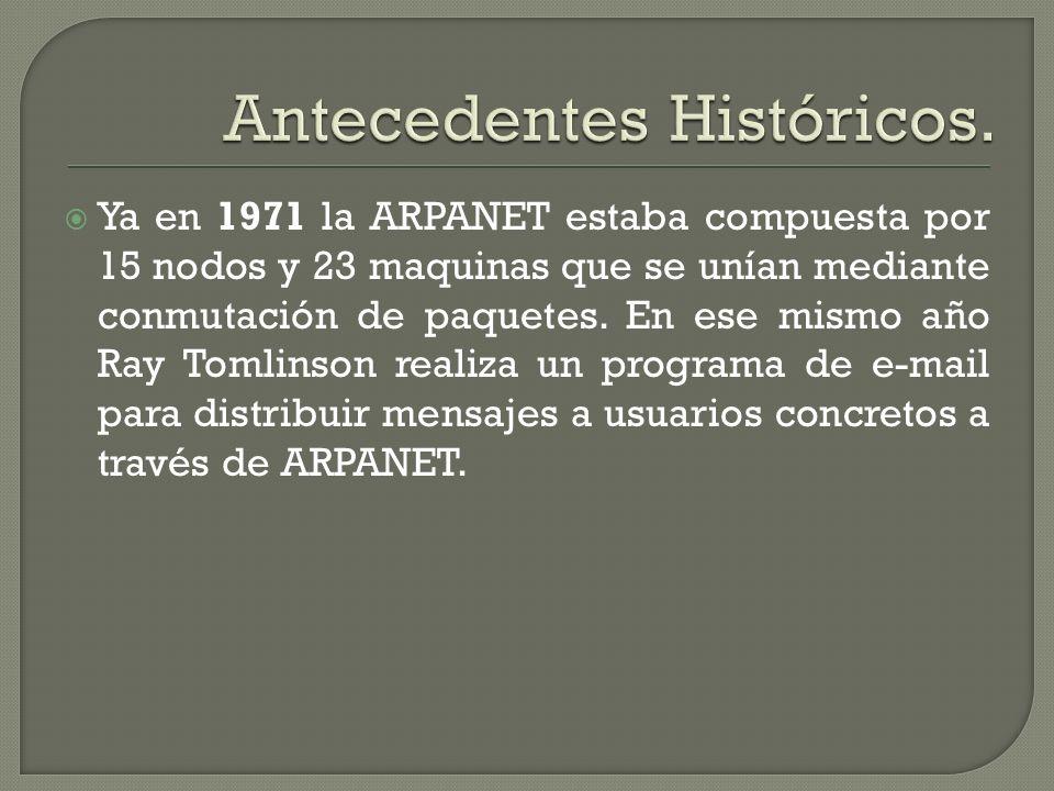 Ya en 1971 la ARPANET estaba compuesta por 15 nodos y 23 maquinas que se unían mediante conmutación de paquetes. En ese mismo año Ray Tomlinson realiz