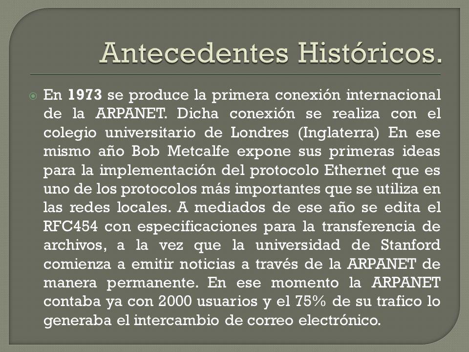 En 1973 se produce la primera conexión internacional de la ARPANET. Dicha conexión se realiza con el colegio universitario de Londres (Inglaterra) En