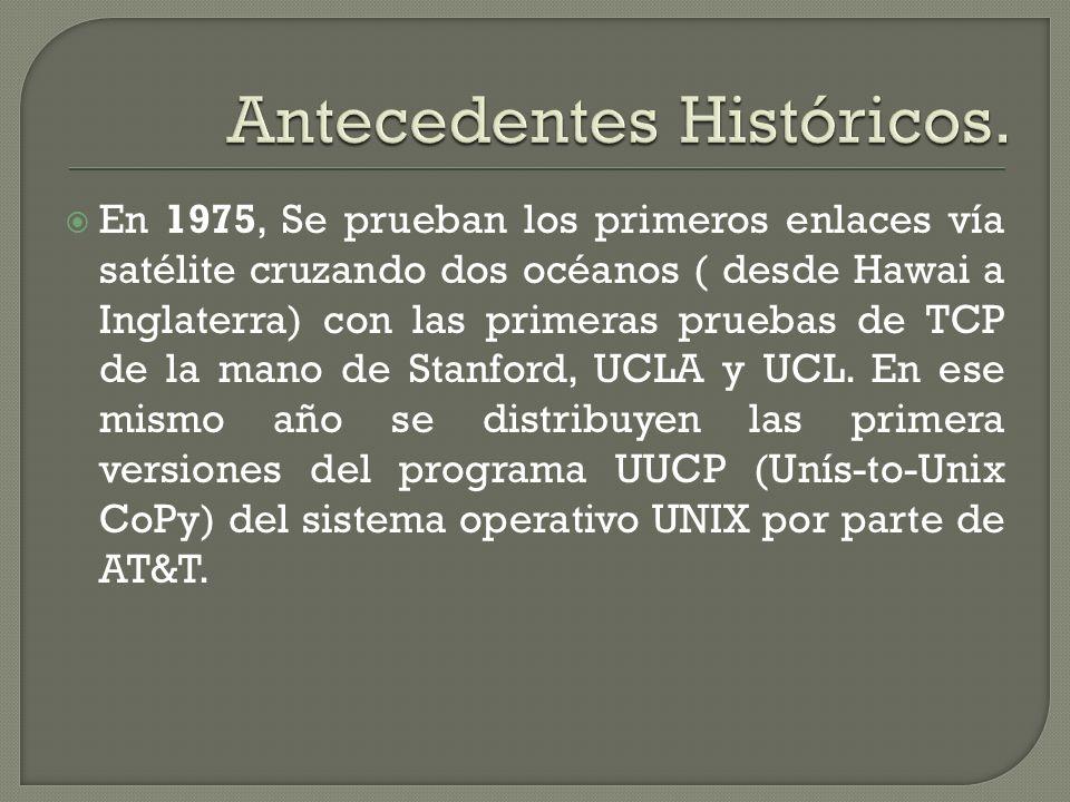 En 1975, Se prueban los primeros enlaces vía satélite cruzando dos océanos ( desde Hawai a Inglaterra) con las primeras pruebas de TCP de la mano de S