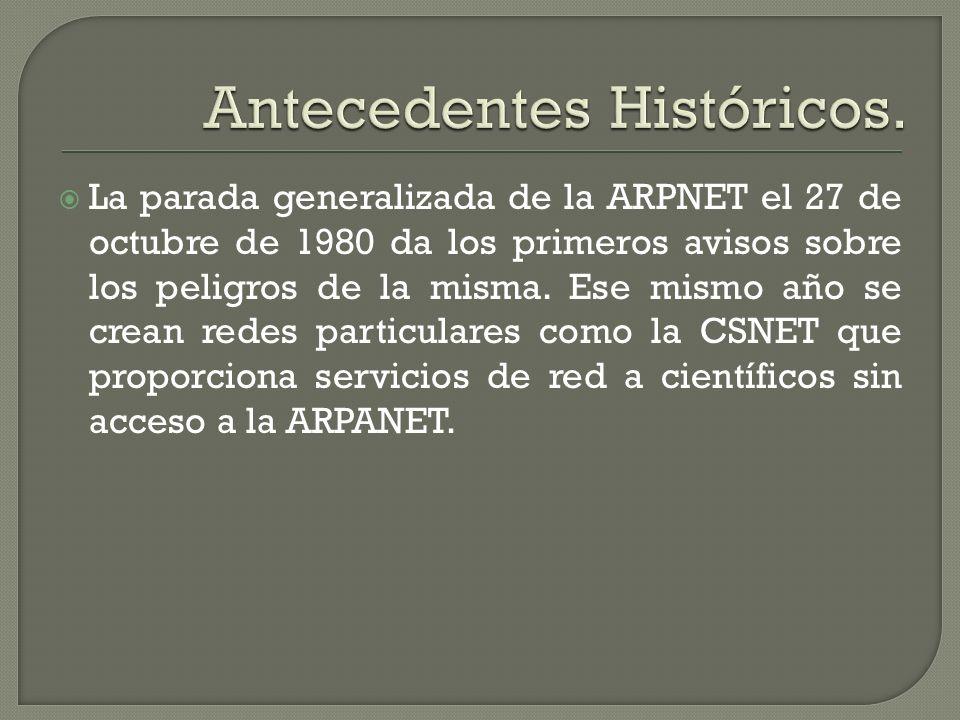 La parada generalizada de la ARPNET el 27 de octubre de 1980 da los primeros avisos sobre los peligros de la misma. Ese mismo año se crean redes parti