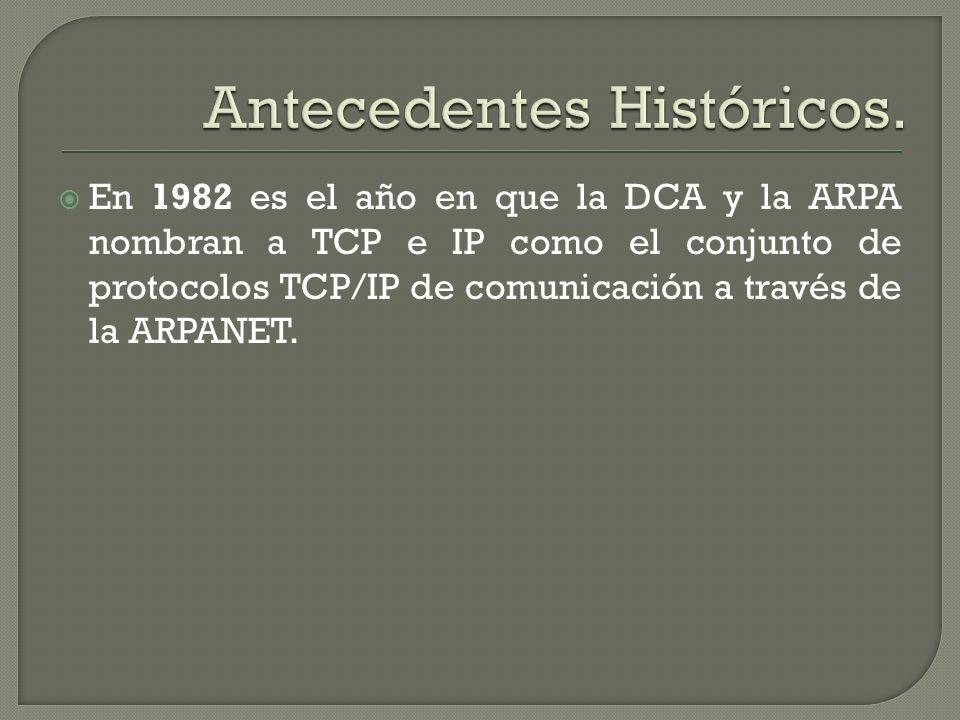 En 1982 es el año en que la DCA y la ARPA nombran a TCP e IP como el conjunto de protocolos TCP/IP de comunicación a través de la ARPANET.