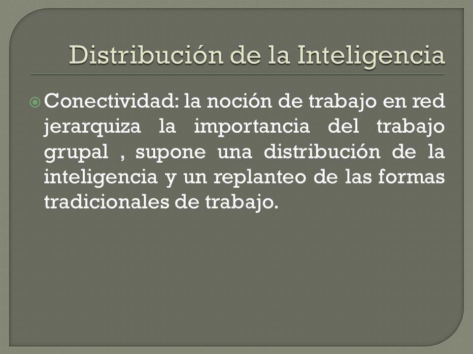 Conectividad: la noción de trabajo en red jerarquiza la importancia del trabajo grupal, supone una distribución de la inteligencia y un replanteo de l