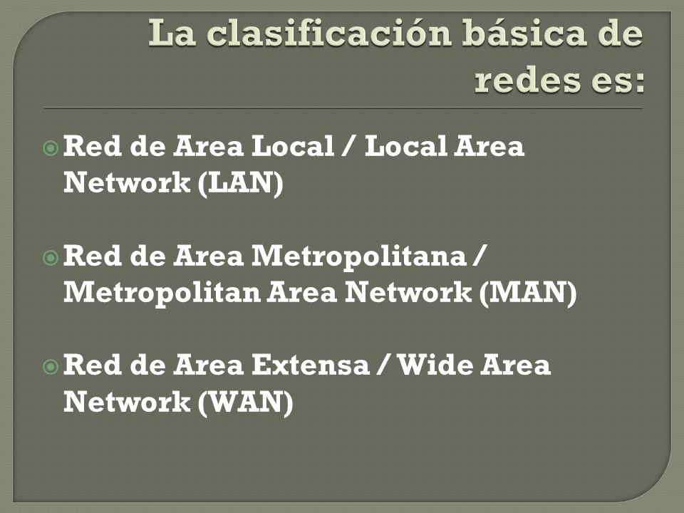 Red de Area Local / Local Area Network (LAN) Red de Area Metropolitana / Metropolitan Area Network (MAN) Red de Area Extensa / Wide Area Network (WAN)
