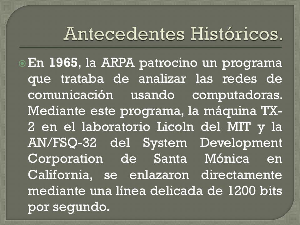 En 1965, la ARPA patrocino un programa que trataba de analizar las redes de comunicación usando computadoras. Mediante este programa, la máquina TX- 2
