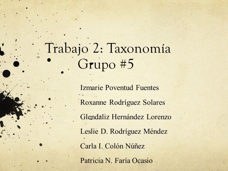 Trabajo 2: Taxonomía Grupo #5 Izmarie Poventud Fuentes Roxanne Rodríguez Solares Glendaliz Hernández Lorenzo Leslie D. Rodríguez Méndez Carla I. Colón