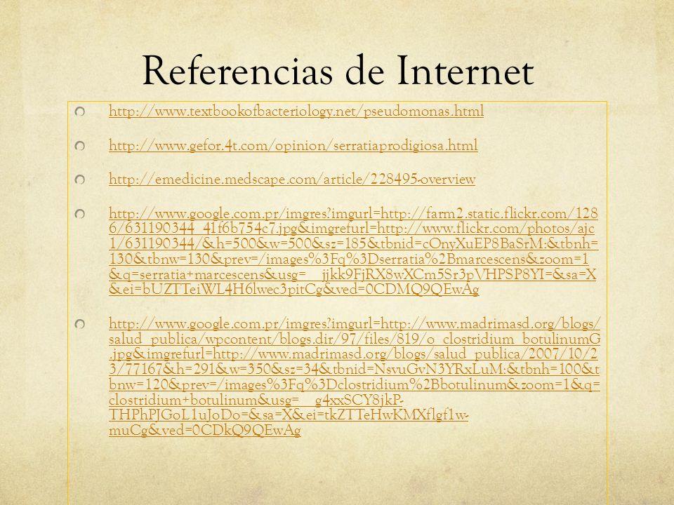 Referencias de Internet http://www.textbookofbacteriology.net/pseudomonas.html http://www.gefor.4t.com/opinion/serratiaprodigiosa.html http://emedicin