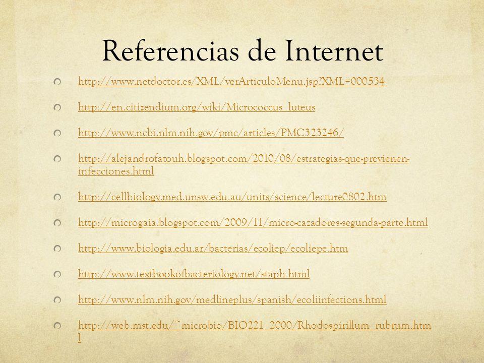 Referencias de Internet http://www.netdoctor.es/XML/verArticuloMenu.jsp?XML=000534 http://en.citizendium.org/wiki/Micrococcus_luteus http://www.ncbi.n