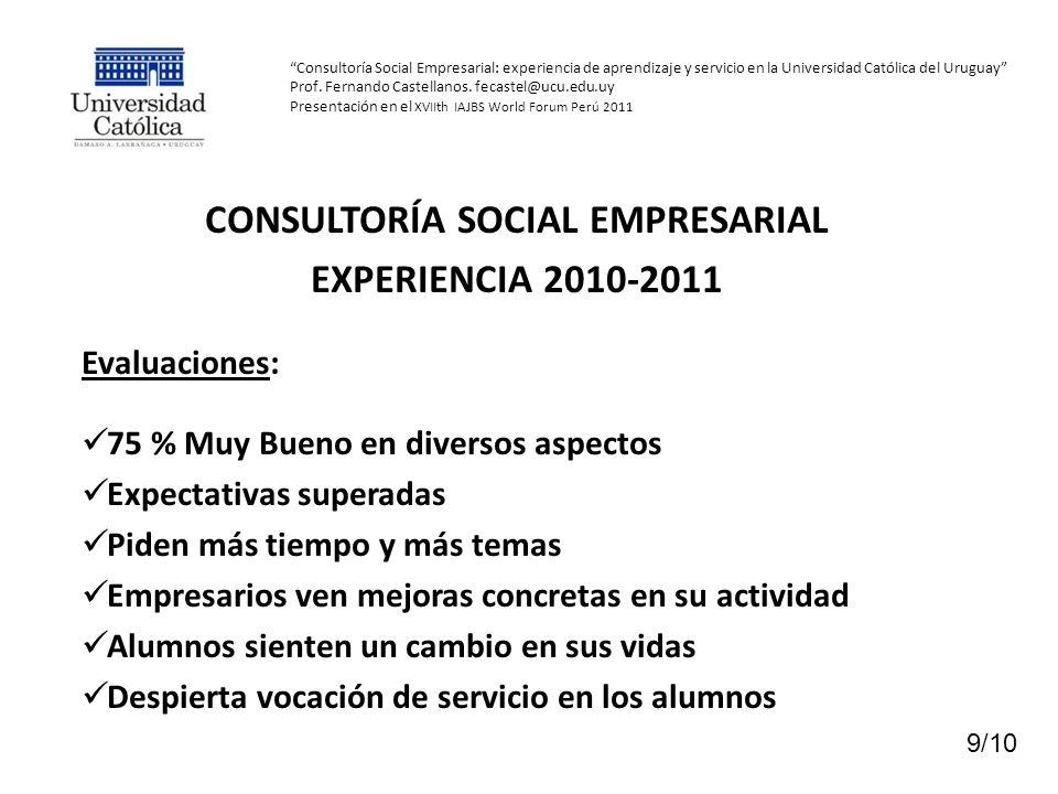 Consultoría Social Empresarial: experiencia de aprendizaje y servicio en la Universidad Católica del Uruguay Prof.