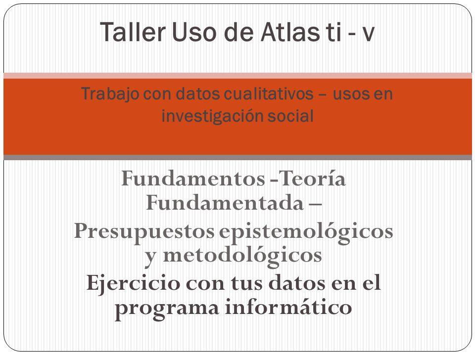 Atlas ti – Taller Crear una Unidad Hermenéutica Asignar documentos primario Descubrir segmentos relevantes Crear códigos Escribir memos Relacionar conceptos Visualizar resultados a través de diagramas Preparar el reporte