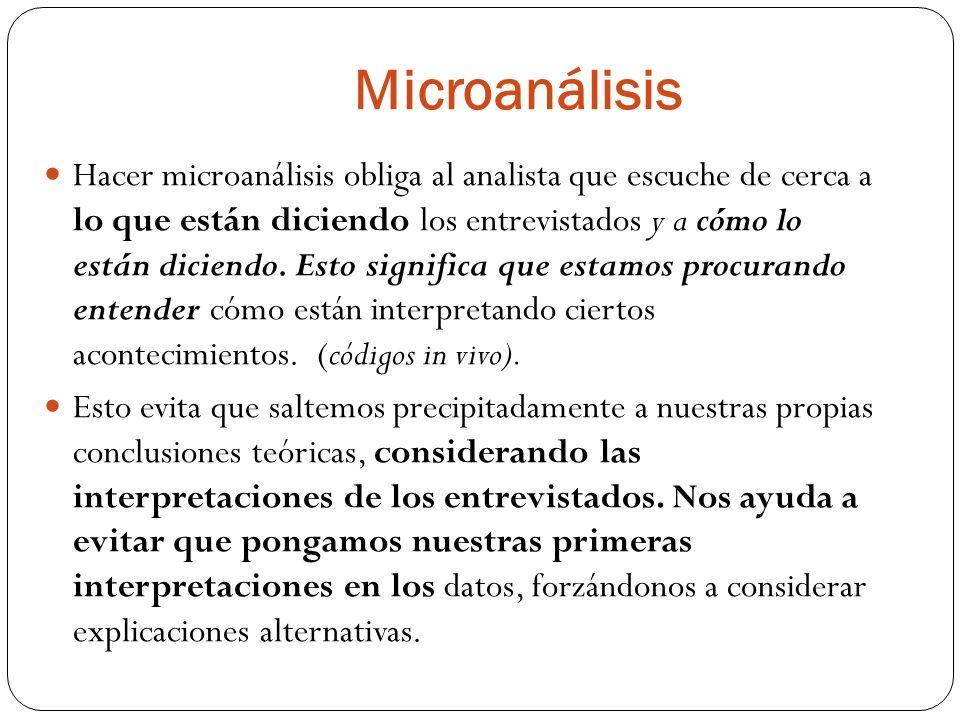 Microanálisis Hacer microanálisis obliga al analista que escuche de cerca a lo que están diciendo los entrevistados y a cómo lo están diciendo. Esto s