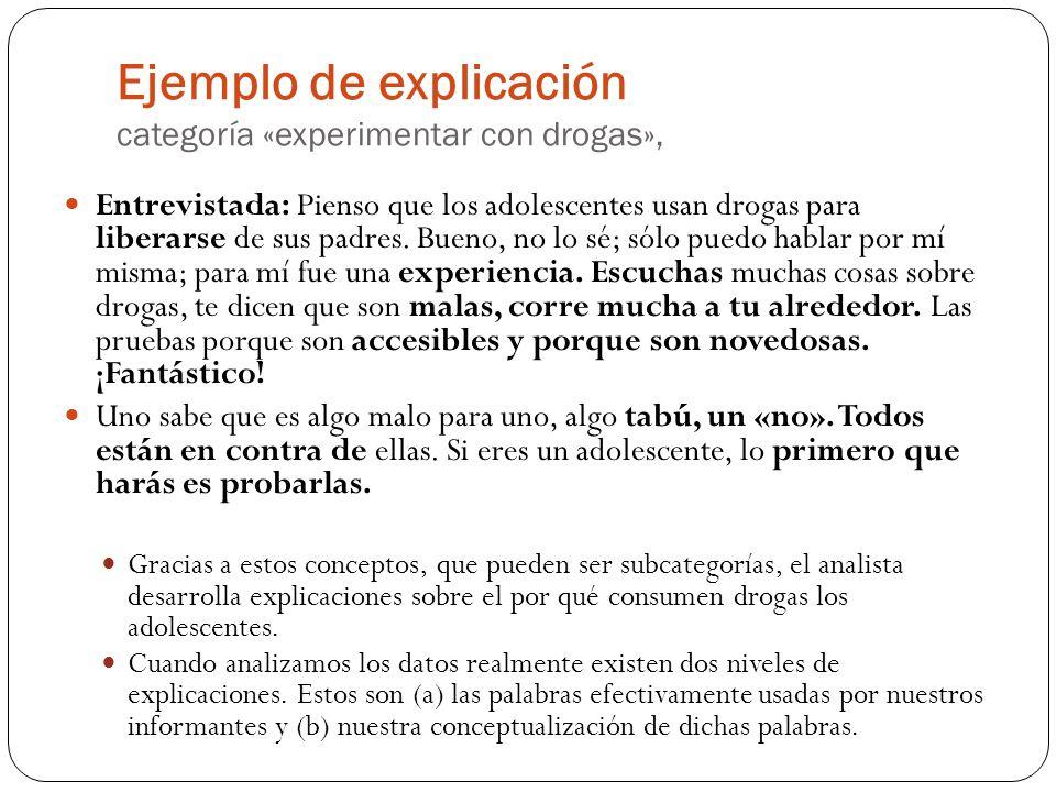 Ejemplo de explicación categoría «experimentar con drogas», Entrevistada: Pienso que los adolescentes usan drogas para liberarse de sus padres. Bueno,