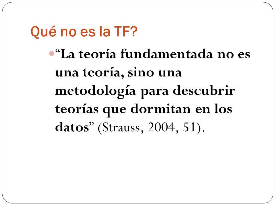 Qué no es la TF? La teoría fundamentada no es una teoría, sino una metodología para descubrir teorías que dormitan en los datos (Strauss, 2004, 51).