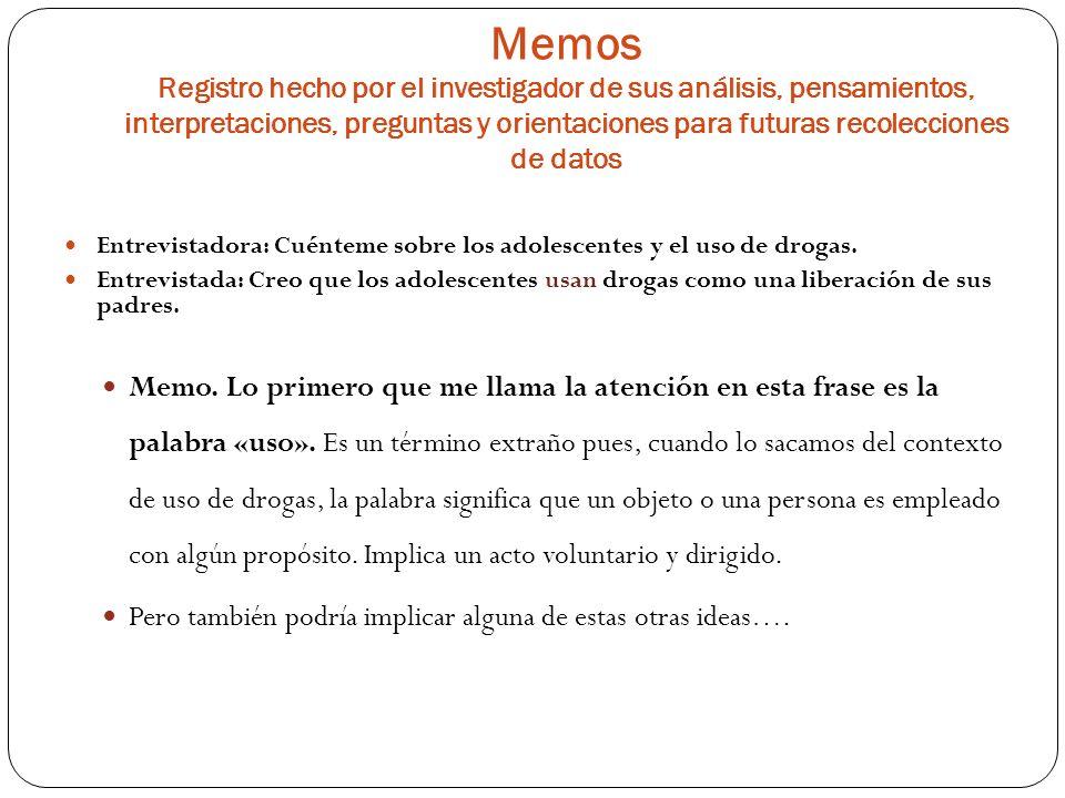 Memos Registro hecho por el investigador de sus análisis, pensamientos, interpretaciones, preguntas y orientaciones para futuras recolecciones de dato